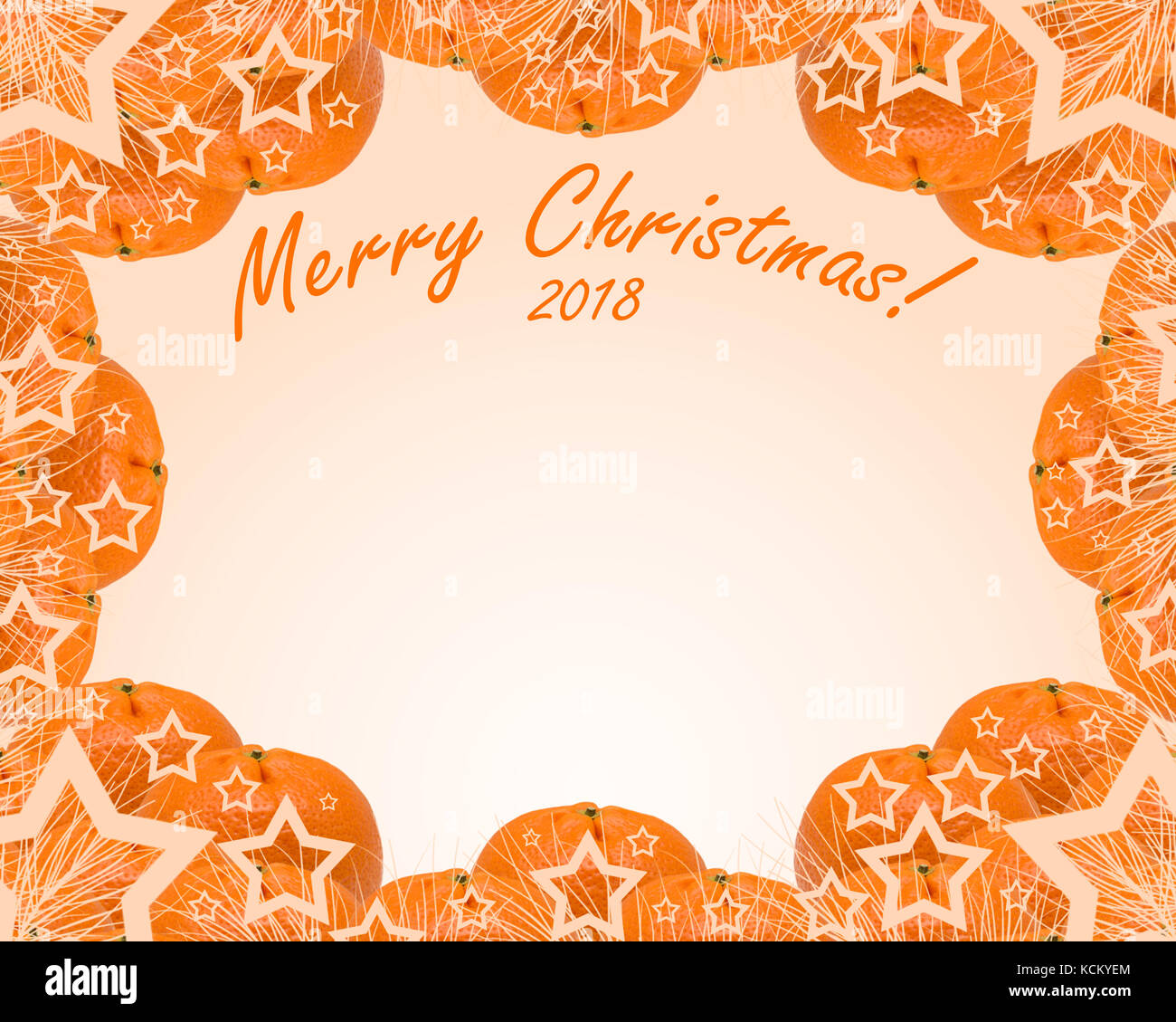 Mandarins on an orange background with the words Merry Christmas ...