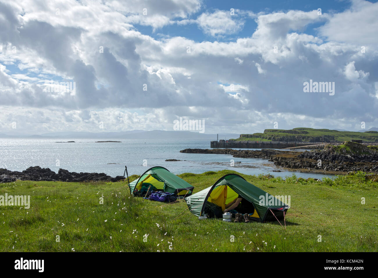 Two small Hilleberg Akto tents on the c&ing area near Galmisdale on the Isle of Eigg Scotland UK & Two small Hilleberg Akto tents on the camping area near Galmisdale ...