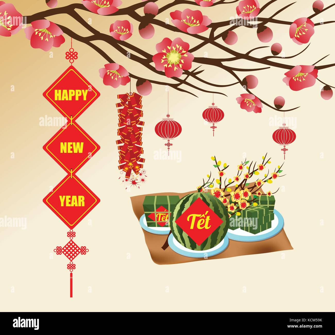 chinese new year background blooming sakura branches vietnamese new year translation tt lunar new year