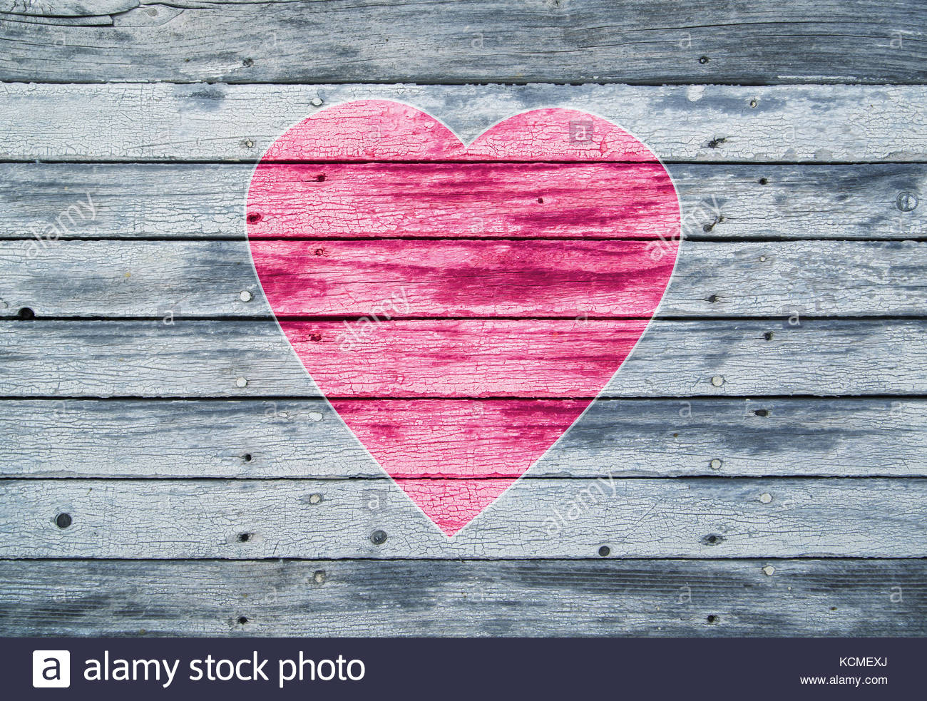 Illustrated one big pink red colored heart symbol on aged soft illustrated one big pink red colored heart symbol on aged soft blue wooden texture planks with copy space background buycottarizona Image collections