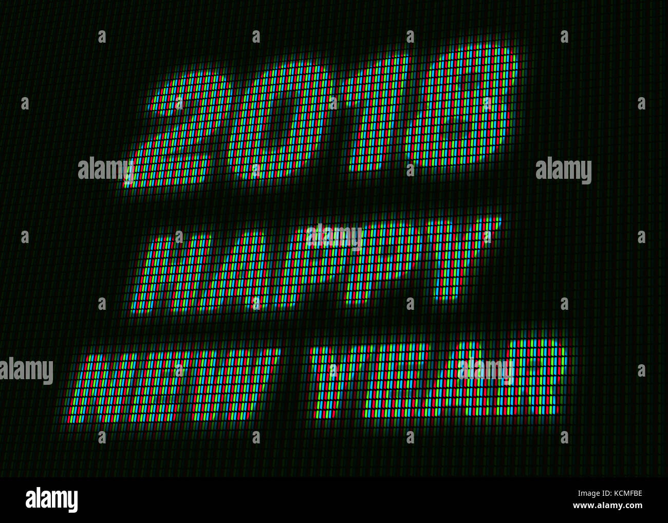 2018 happy new year message on the led billboard screen