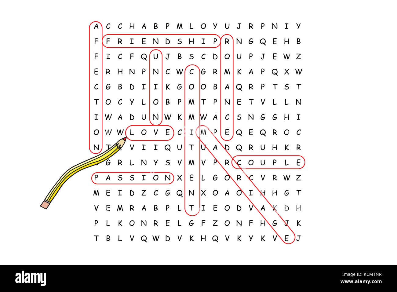 Looking For Love Word Search Puzzle Withociated Words Circled In Red Pencil