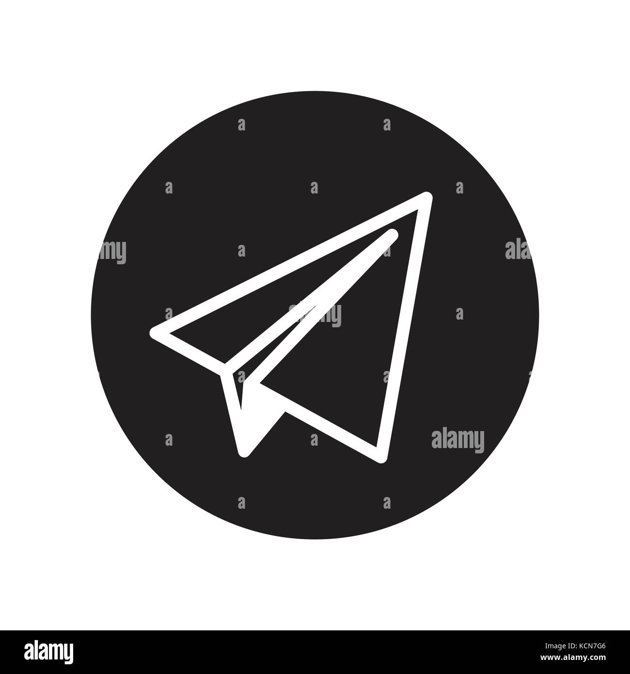 Vector Of Paper Plane Icon In Circle Line Iconic Symbol Inside A