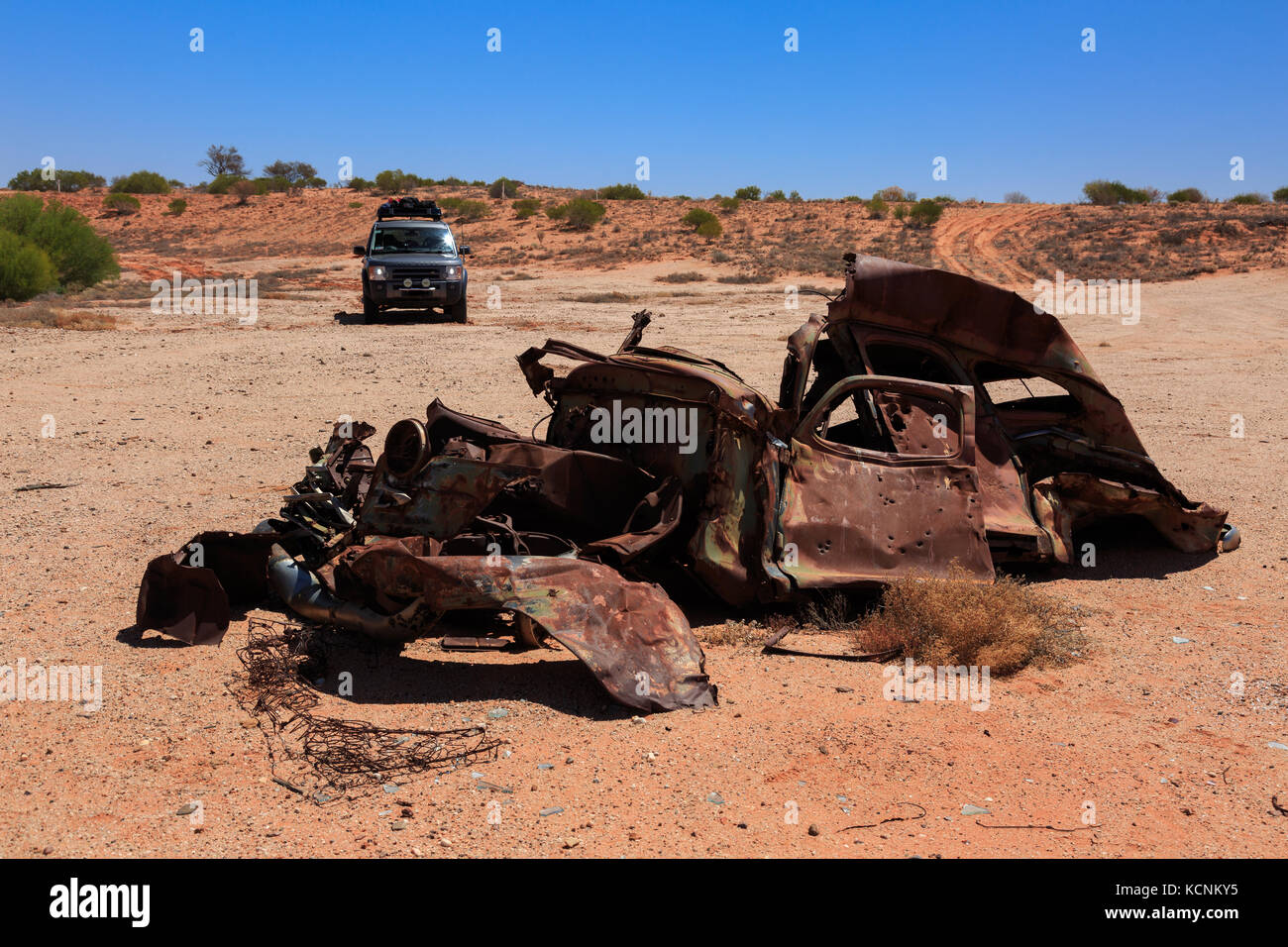 Old car wrecks along the famous Oodnadatta Track in the Australian ...