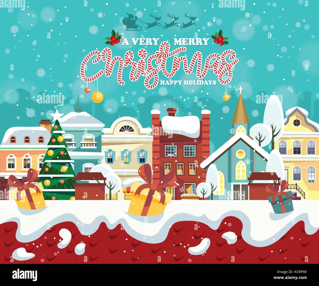 Merry christmas and happy new year vector greeting card in flat merry christmas and happy new year vector greeting card in flat style christmas winter town with snowflakes december town poster m4hsunfo