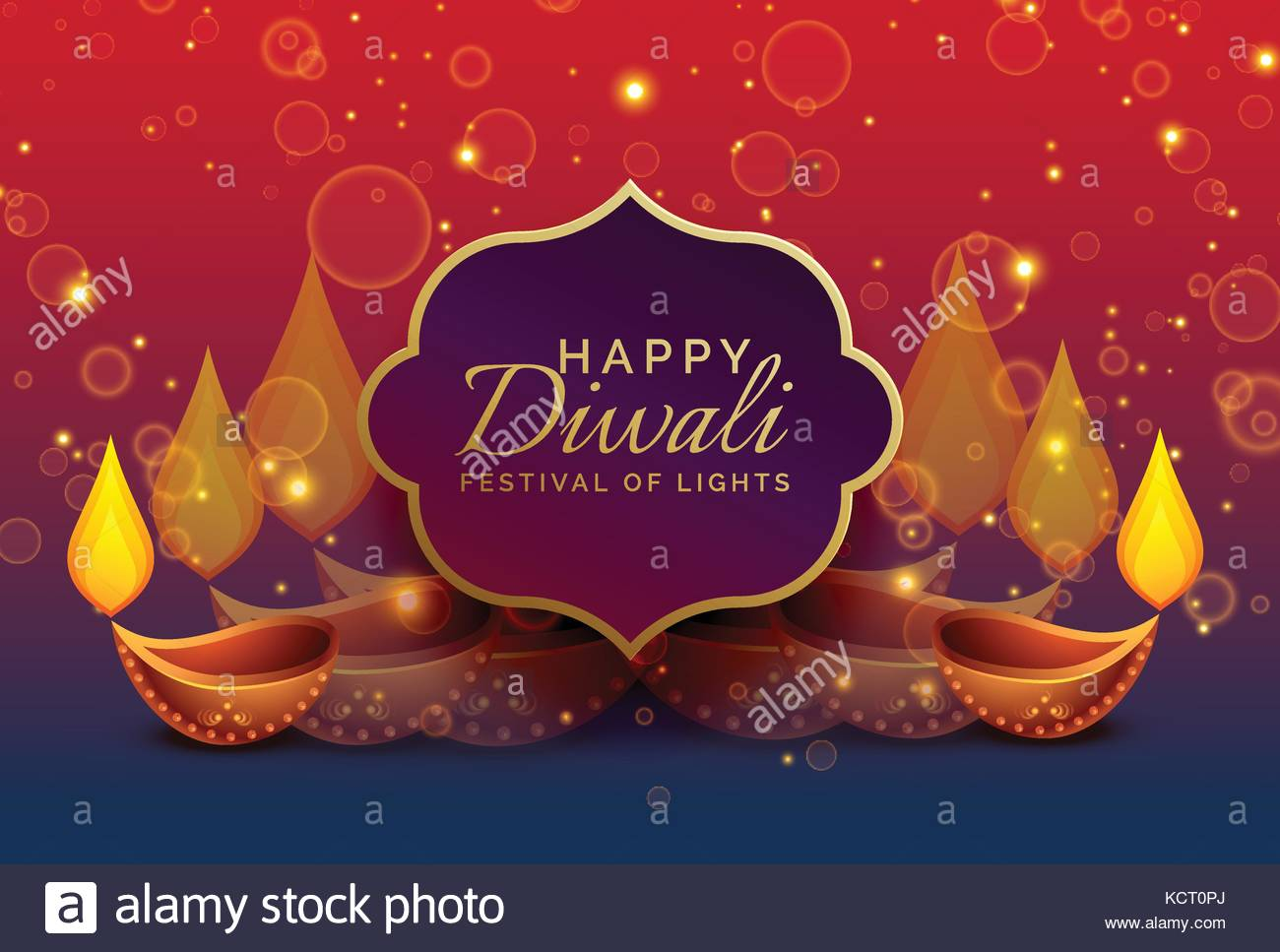 Beautiful Diwali Greeting Background With Diya And Sparkles Stock