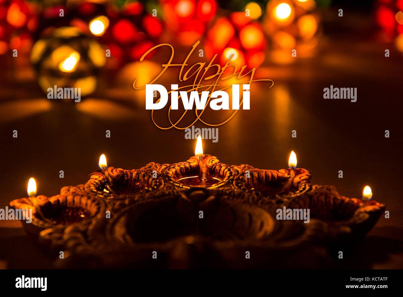 Stock Photo Of Diwali Greeting Card Showing Illuminated Diya Or Oil