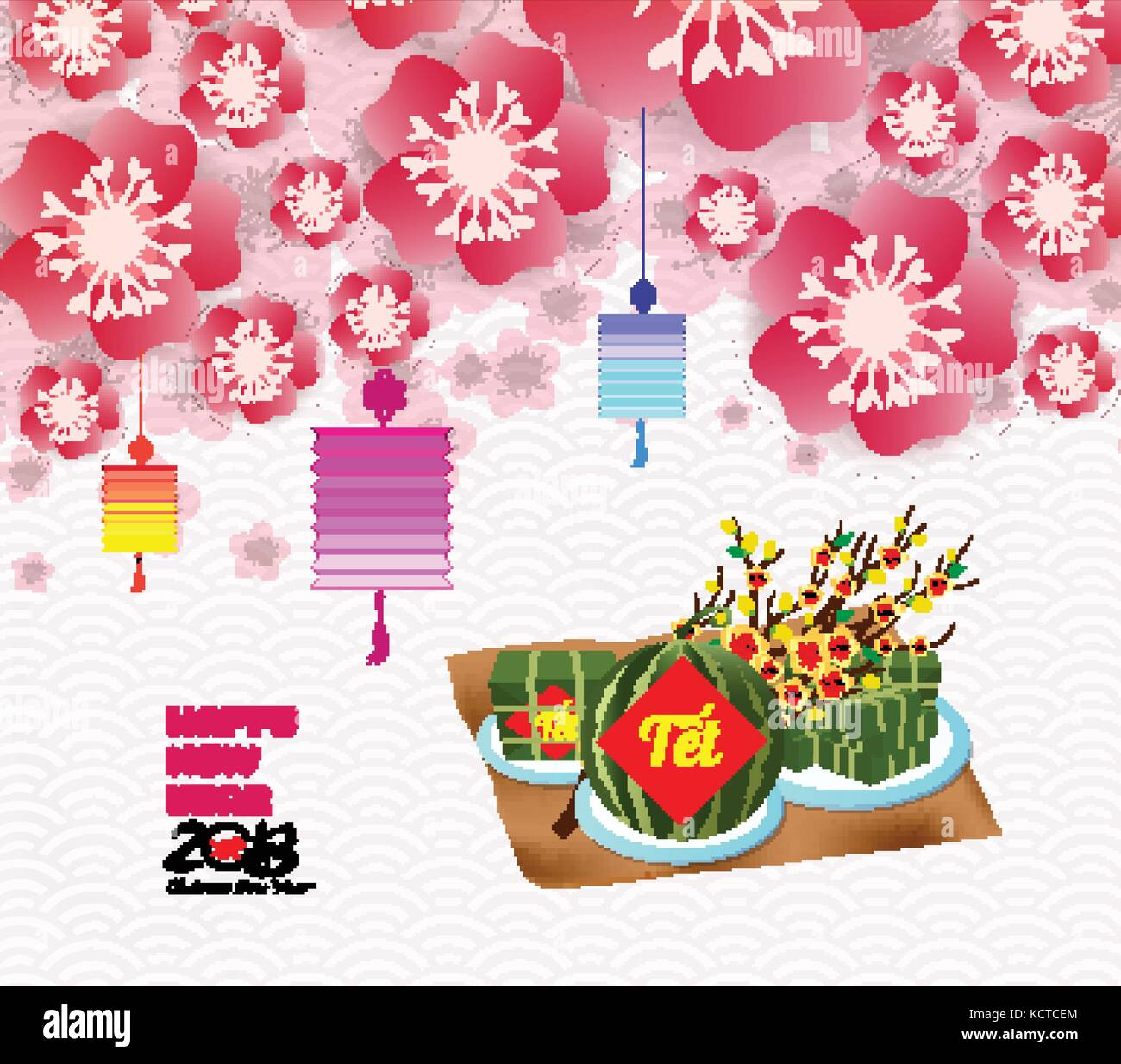 chinese new year background blossom sakura branches vietnamese new year translation tet lunar new year
