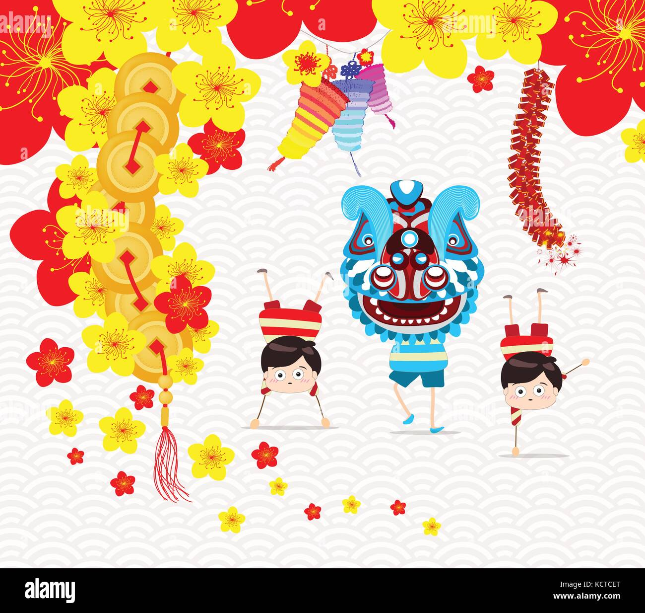 Chinese new year greeting card. Lion Dance Stock Vector Art ...