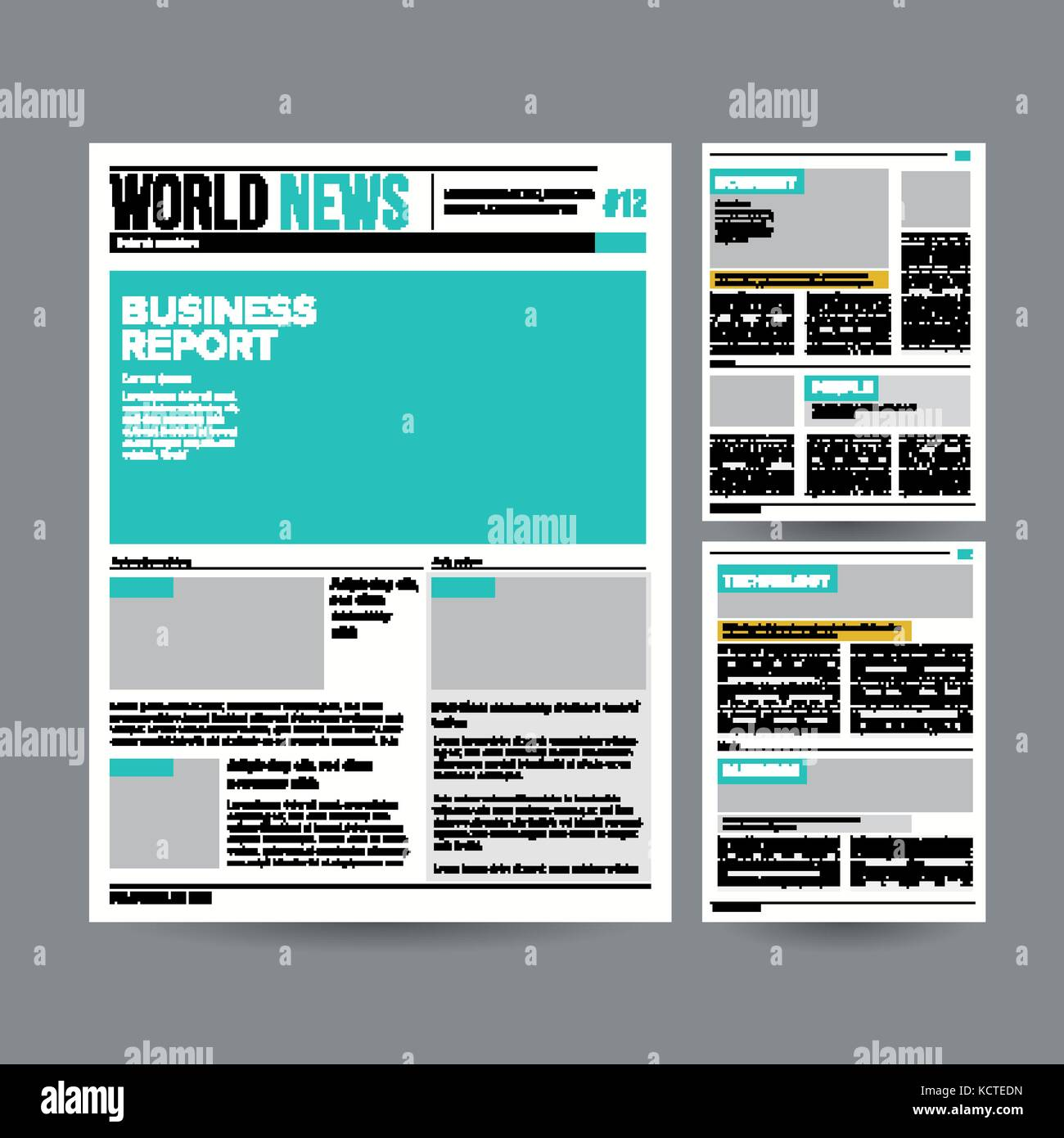 Newspaper Design Template Vector. Modern Newspaper Layout Template.  Financial Articles, Business Information. World News Economy Headlines.