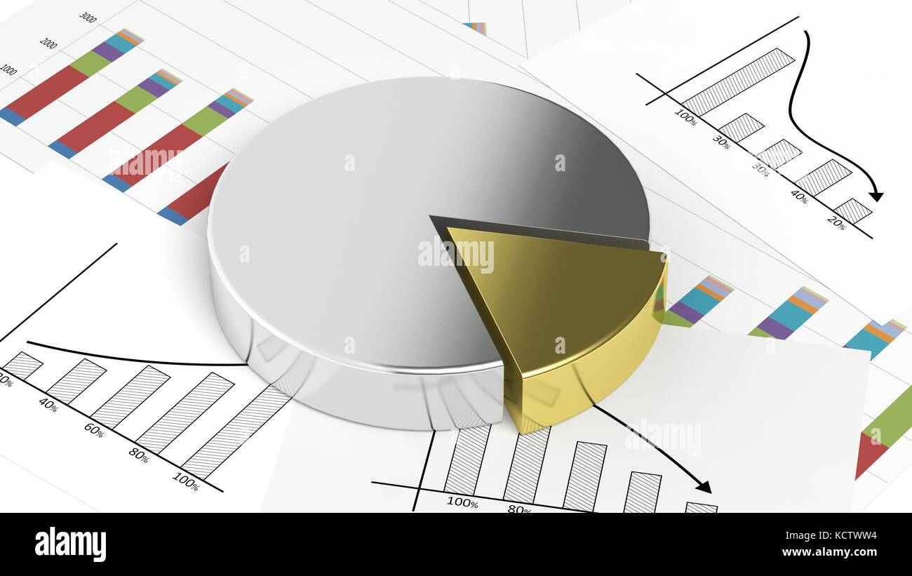 silver and gold business pie chart on documents stock photo