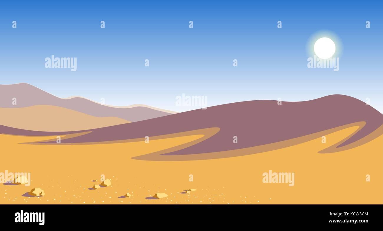 The Hot Desert Yellow Sand Dunes Blue Sky Scorching Sun Natural - A hot desert
