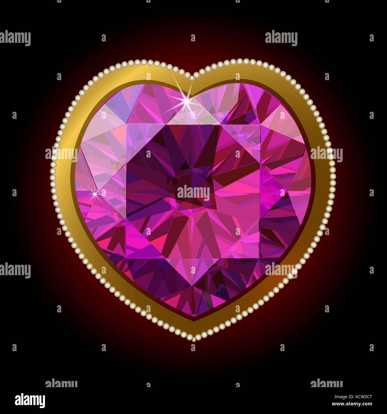 Pink diamond heart in a gold frame on a black background surrounded ...