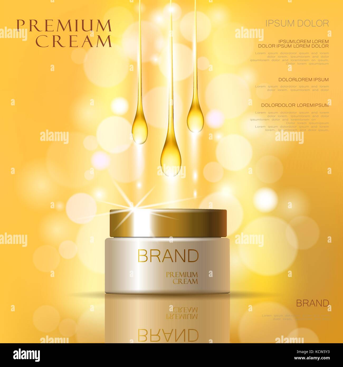 Golden oil cosmetic cream skin care ads. Template 3d realistic Stock ...