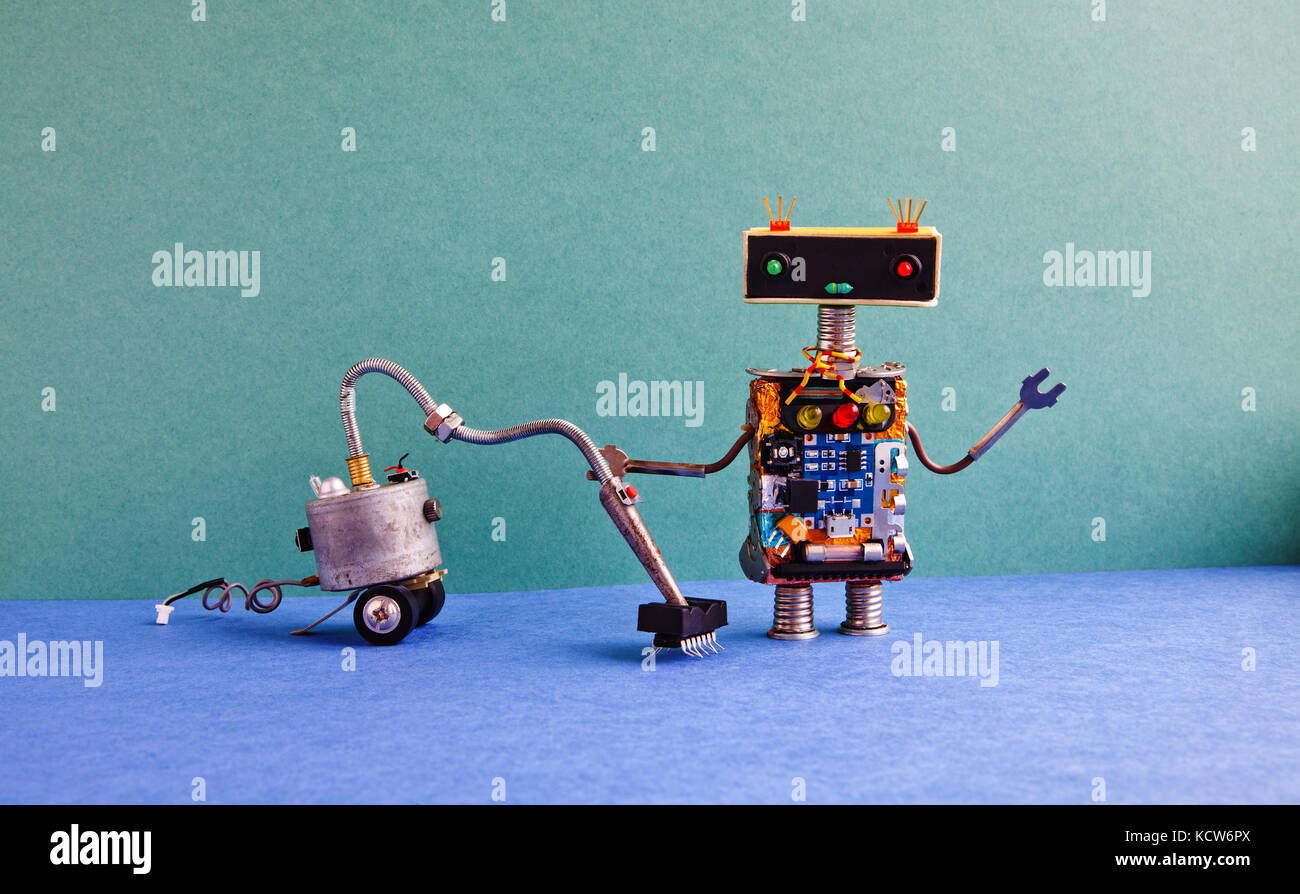 Cleaning robot stock photos cleaning robot stock images alamy vacuum cleaner room service creative design robot cleaning home green wall blue floor apartment ccuart Choice Image