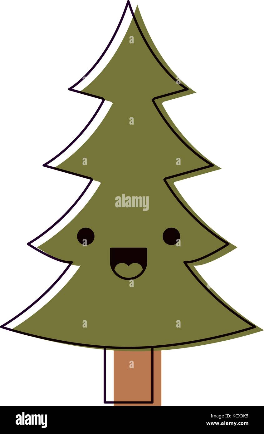 kawaii christmas tree with trunk with happiness expression ...