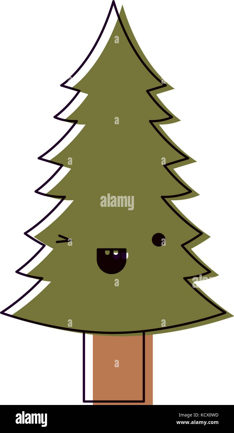 kawaii christmas pine with trunk with wink eye and happiness Stock ...