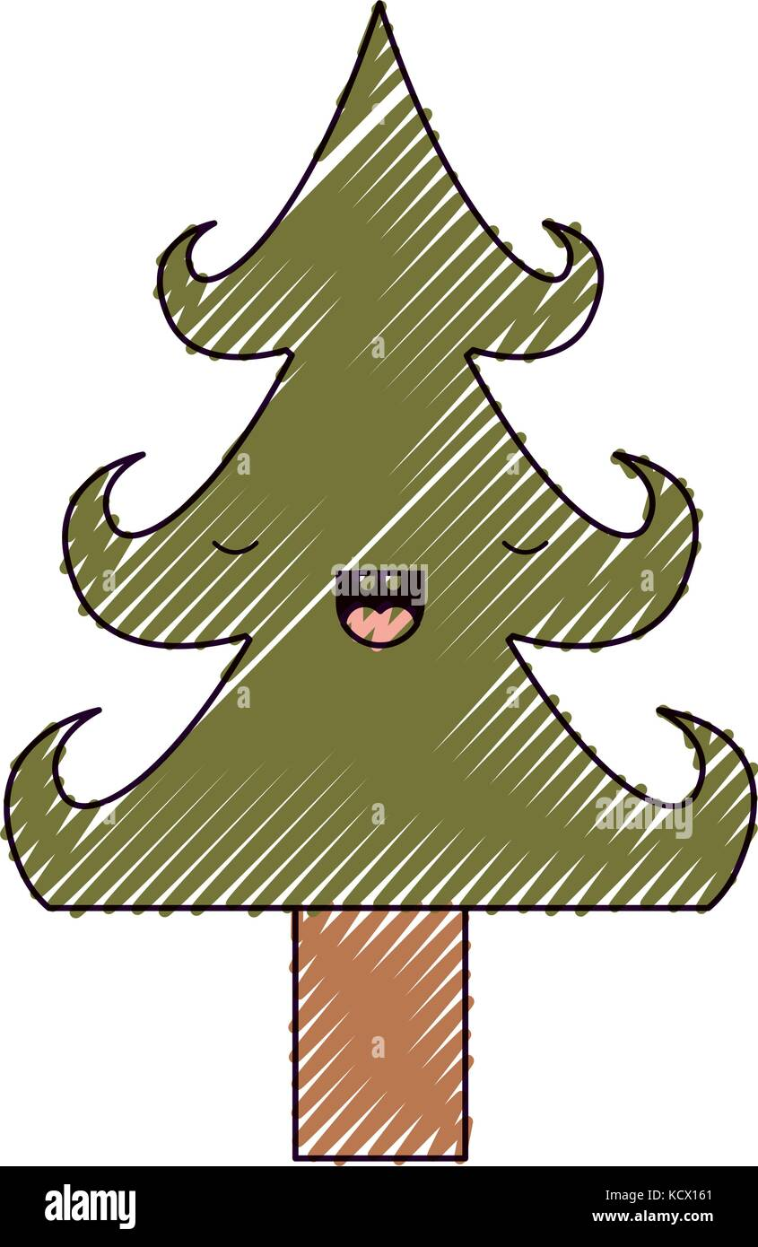 kawaii christmas tree with trunk with eyes closed happiness Stock ...