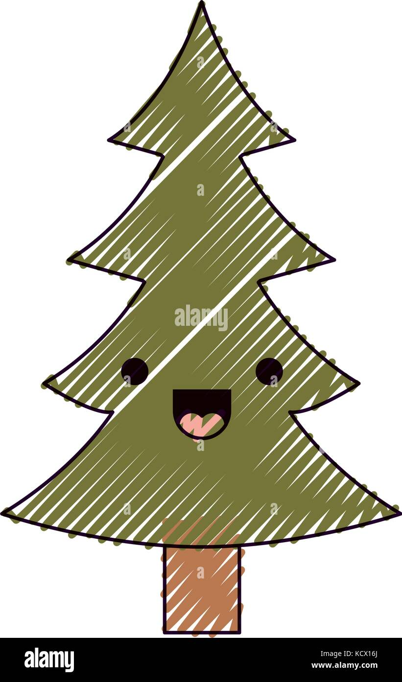 kawaii christmas pine with trunk and smiling expression color crayon ...