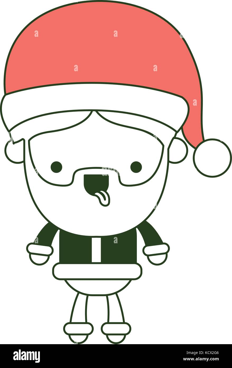 santa claus cartoon full body tongue out expression on color section ...