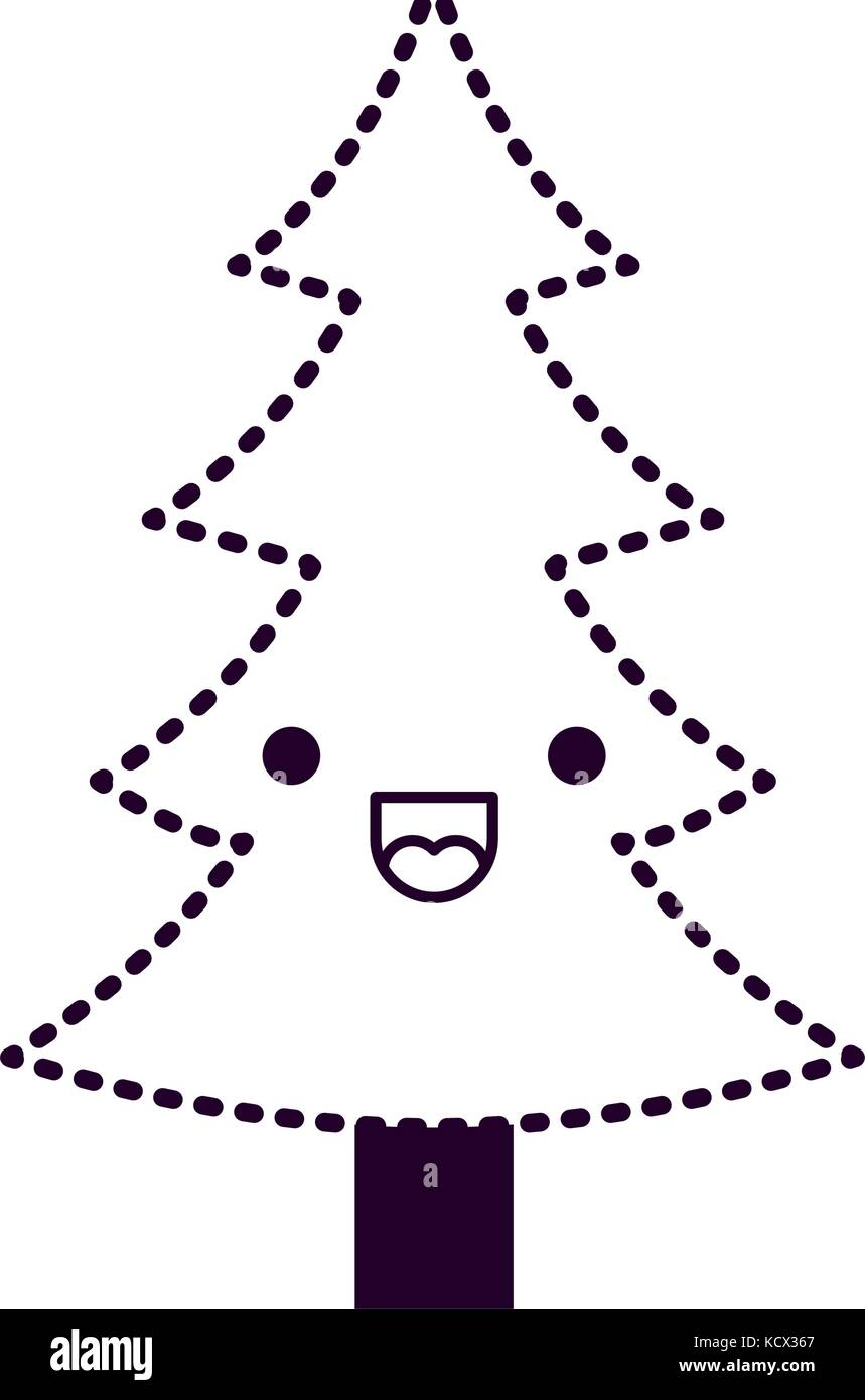 kawaii christmas tree with trunk with happiness expression on dotted ...