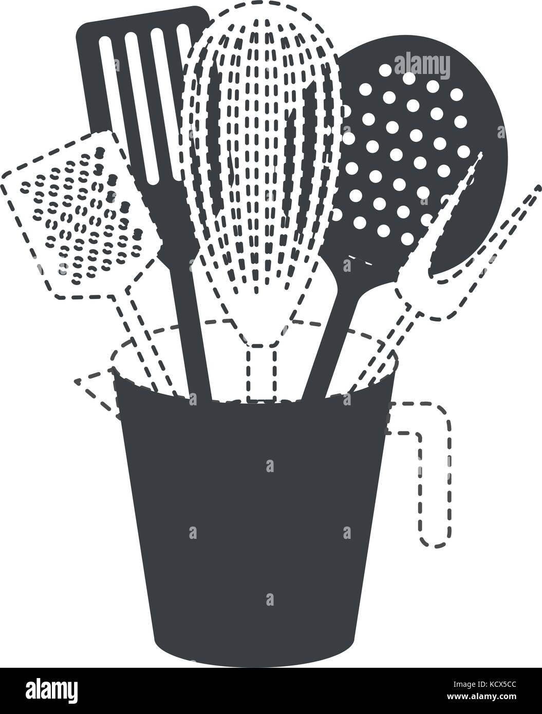 jar with kitchen utensils black silhouette and dotted contour Stock ...