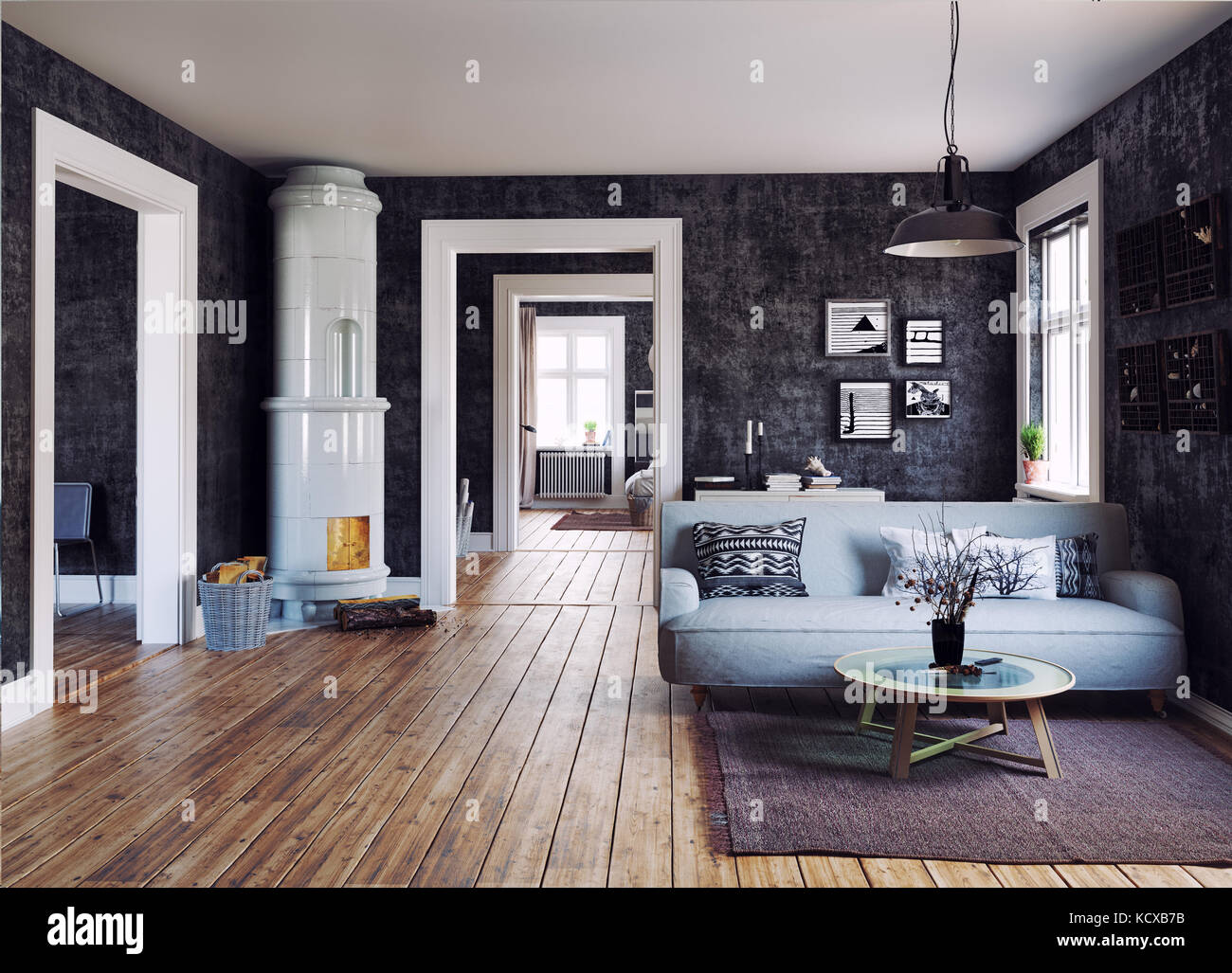 The Modern interior. Scandinavian design style. 3d rendering Stock ...