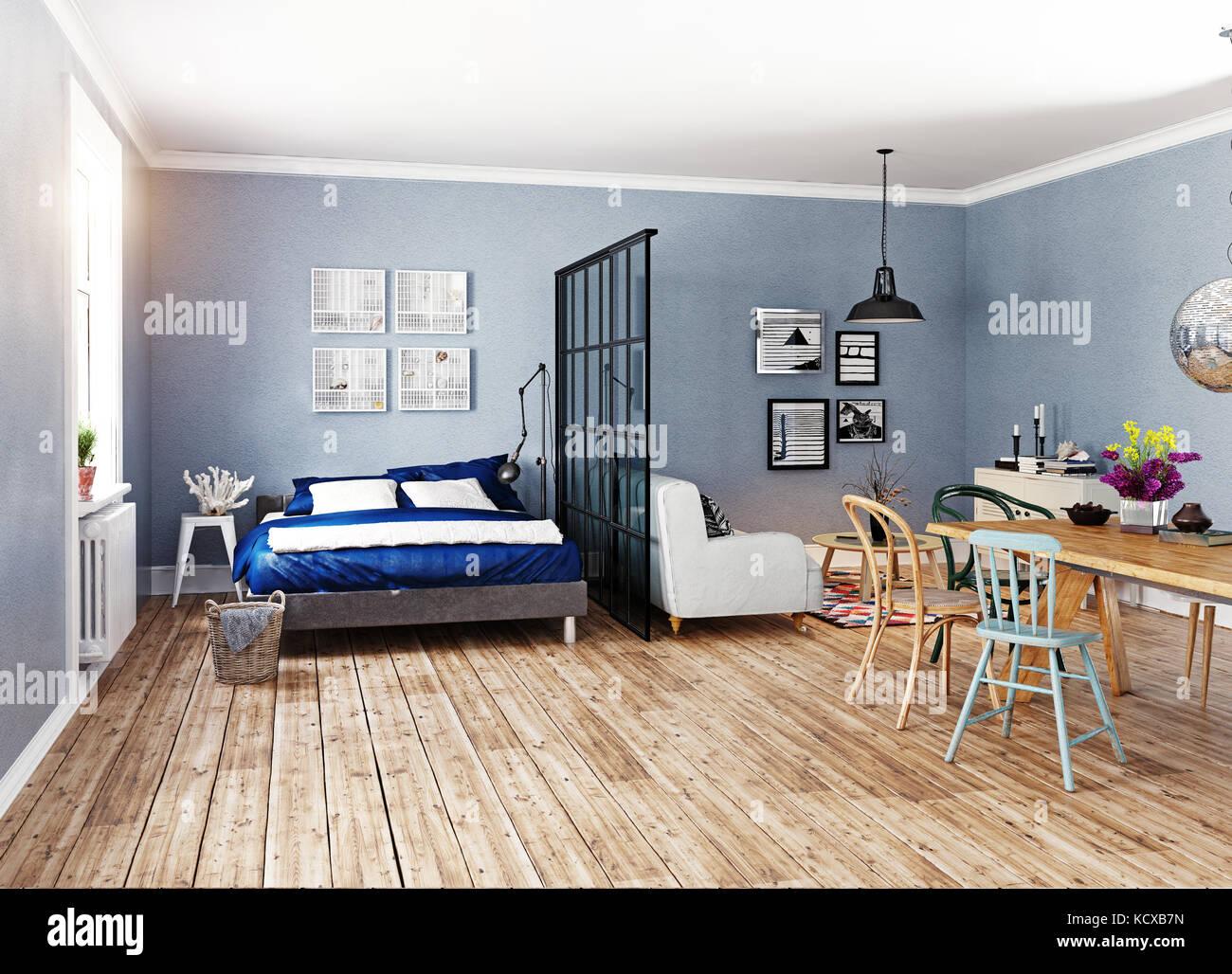 Modern apartment. Scandinavian design style. 3d rendering illustration concept & Modern apartment. Scandinavian design style. 3d rendering Stock ...