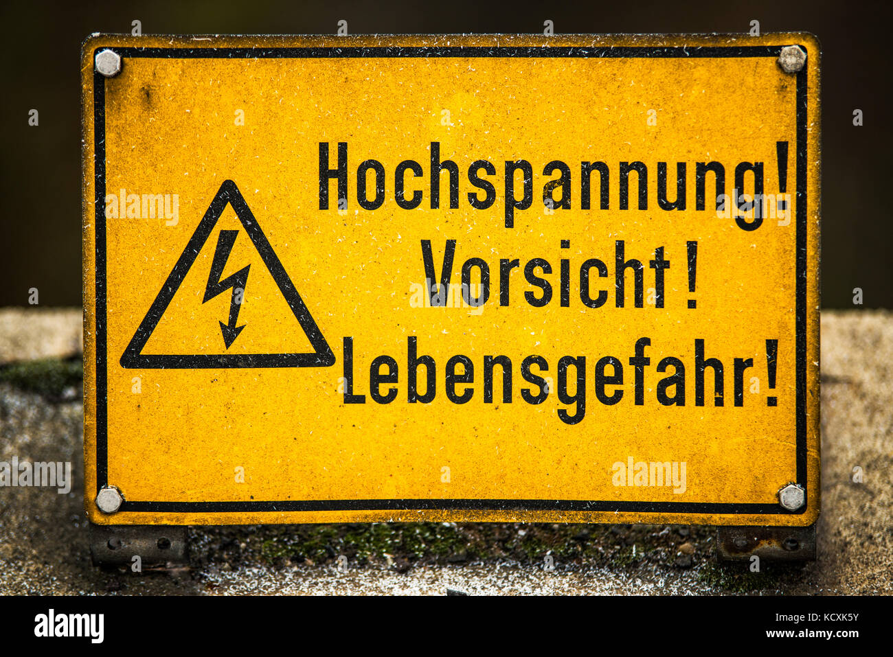 High voltage sign stock photos high voltage sign stock images alamy german high voltage information sign stock image buycottarizona Images