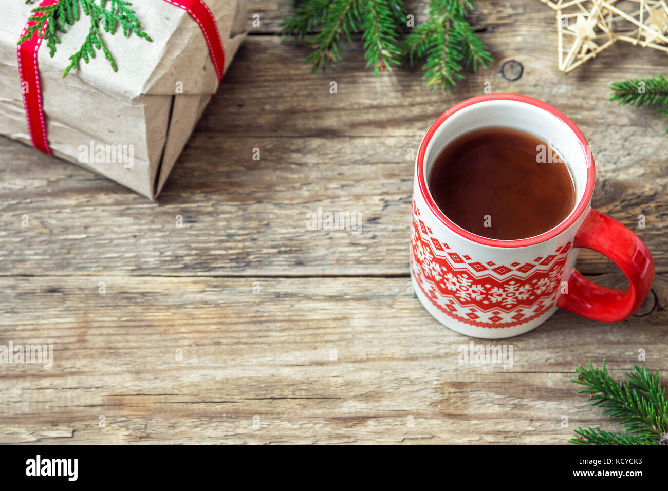 Christmas hot chocolate drink with Christmas gift and ornaments on ...
