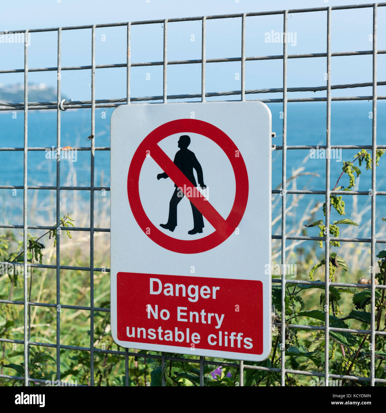 Black ,Red and White Danger sign - No Entry unstable cliffs - on a ...