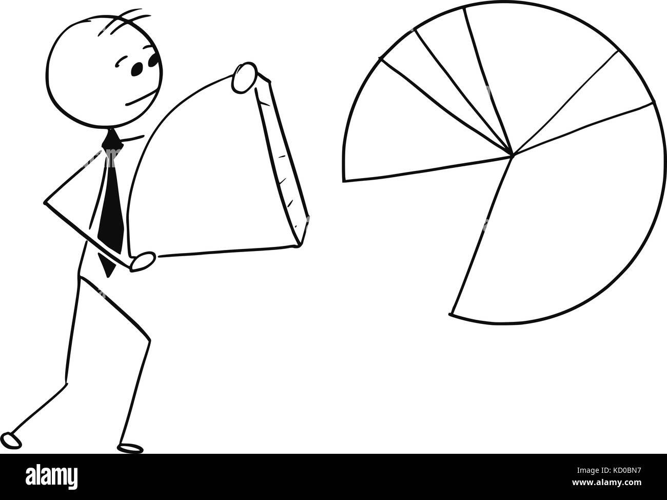 Pie chart cake stock photos pie chart cake stock images alamy cartoon stick man illustration of businessman carry piece of pie chart graph stock image nvjuhfo Images