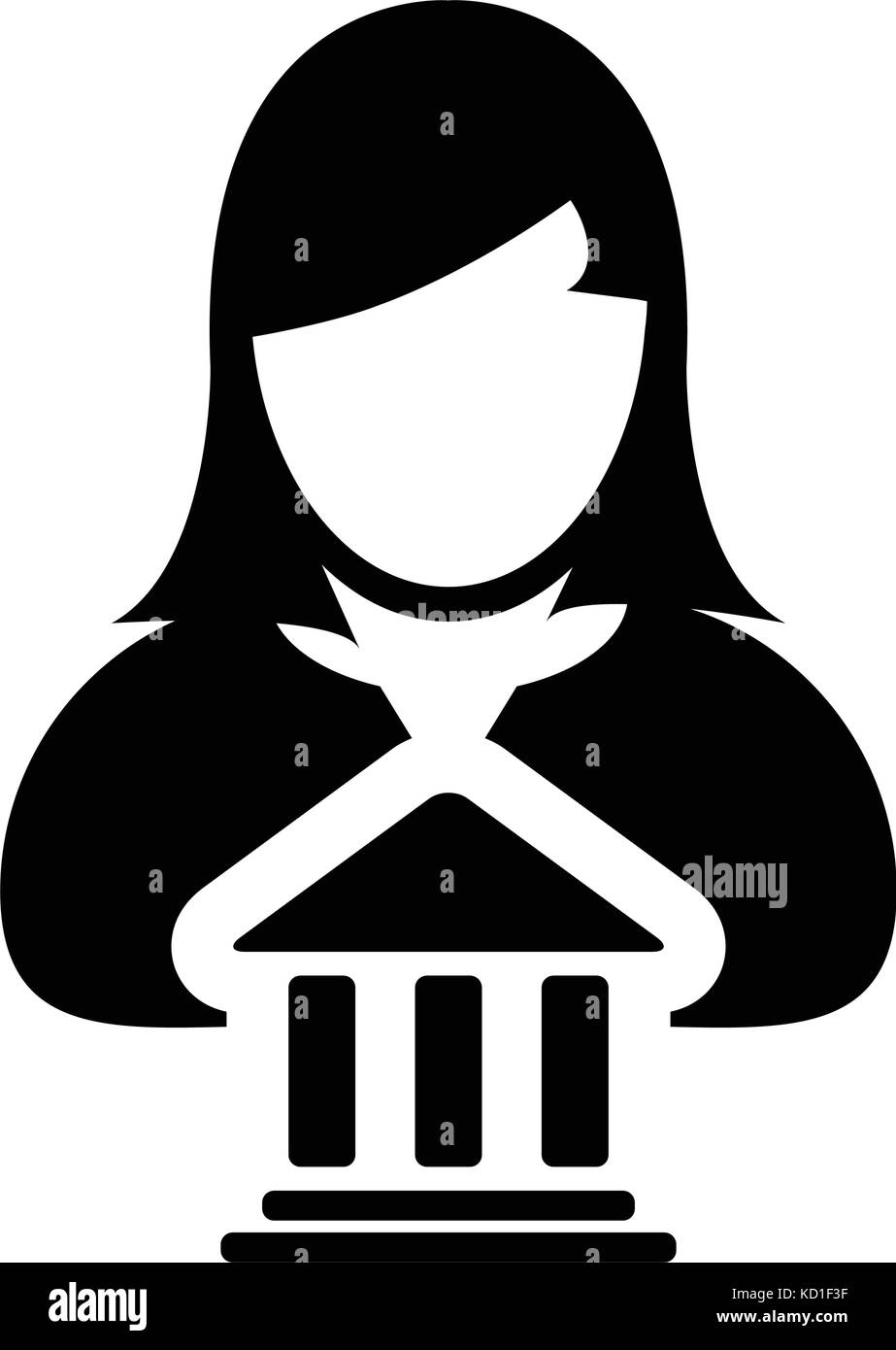 Bank icon vector with person profile female avatar symbol for bank icon vector with person profile female avatar symbol for banking and finance in glyph pictogram illustration biocorpaavc Gallery