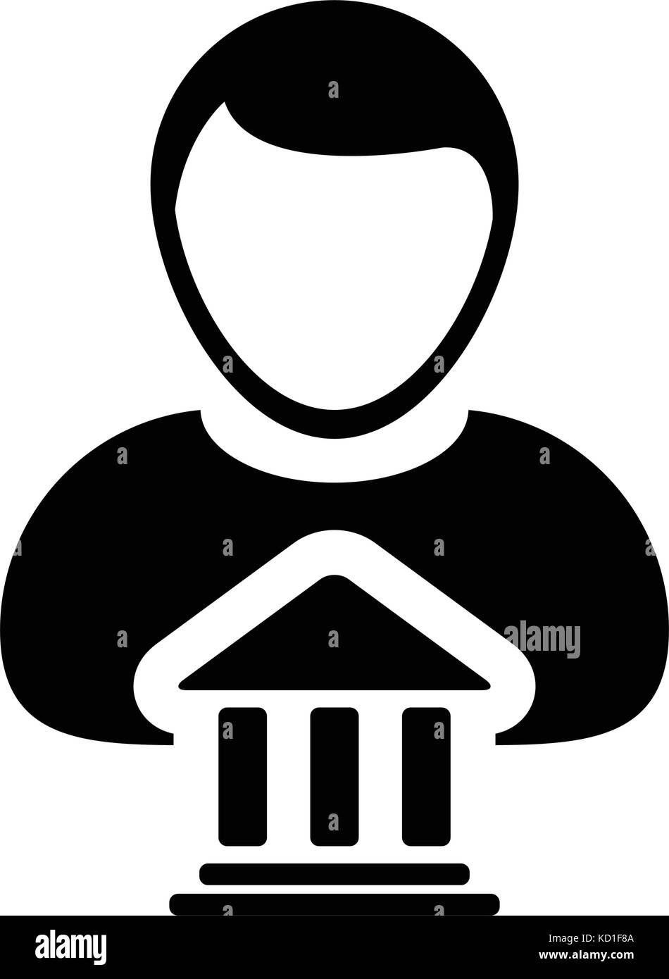 Bank icon vector with person profile male avatar symbol for bank icon vector with person profile male avatar symbol for banking and finance in glyph pictogram illustration biocorpaavc Gallery