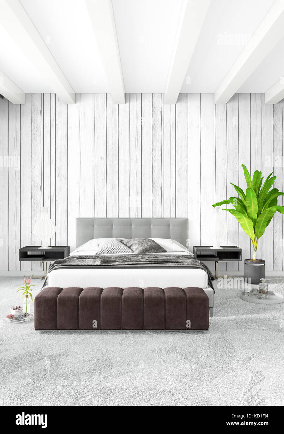 Loft Bedroom Or Living Room Minimal Style Interior Design With Eclectic  Wall And Stylish Sofa. 3D Rendering.