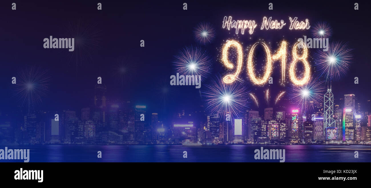 happy new year 2018 firework over cityscape building near sea at night time celebrationmock up banner for advertise on social media
