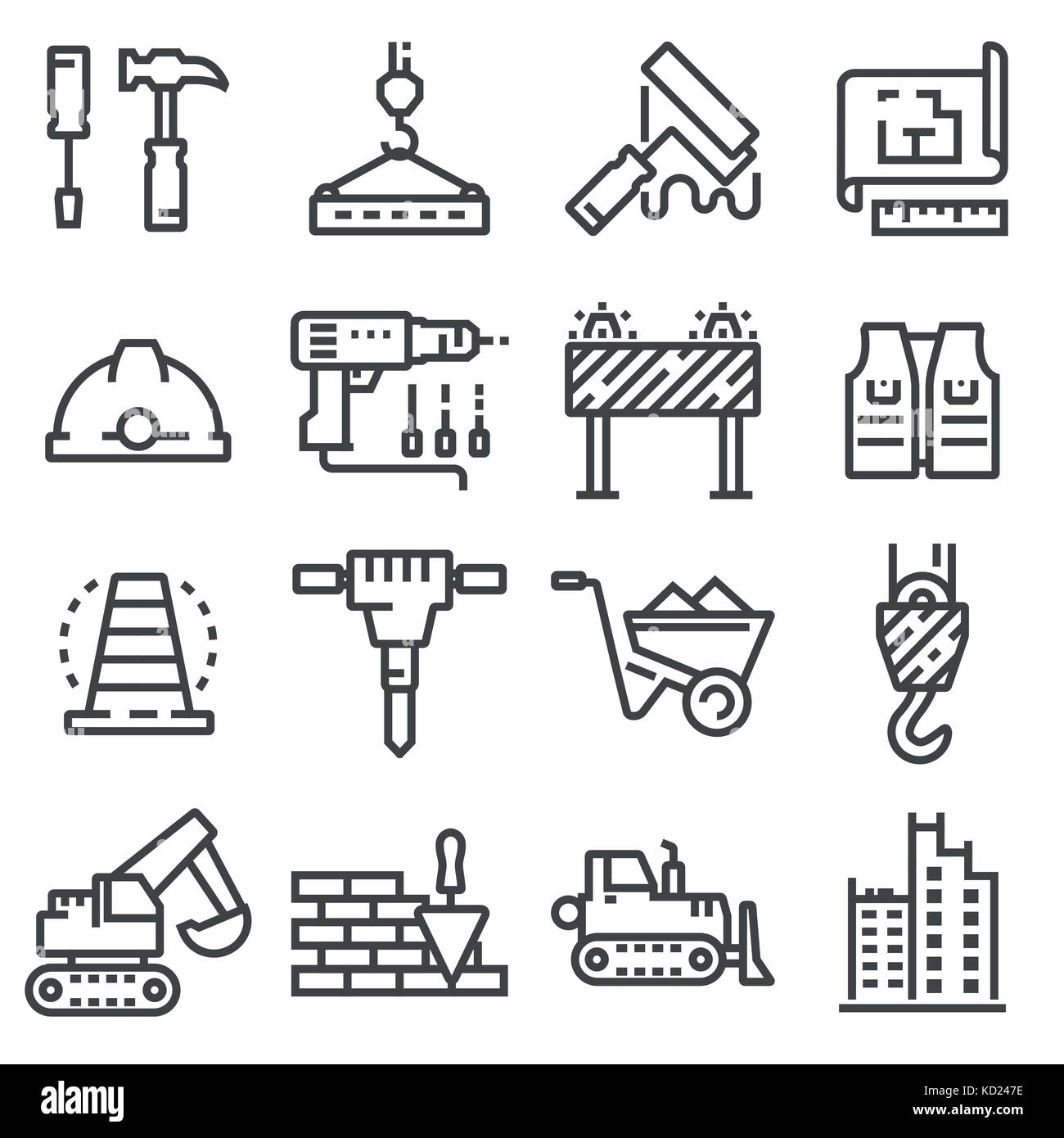 Vector Construction Icons Set Building Line Symbols Stock Vector