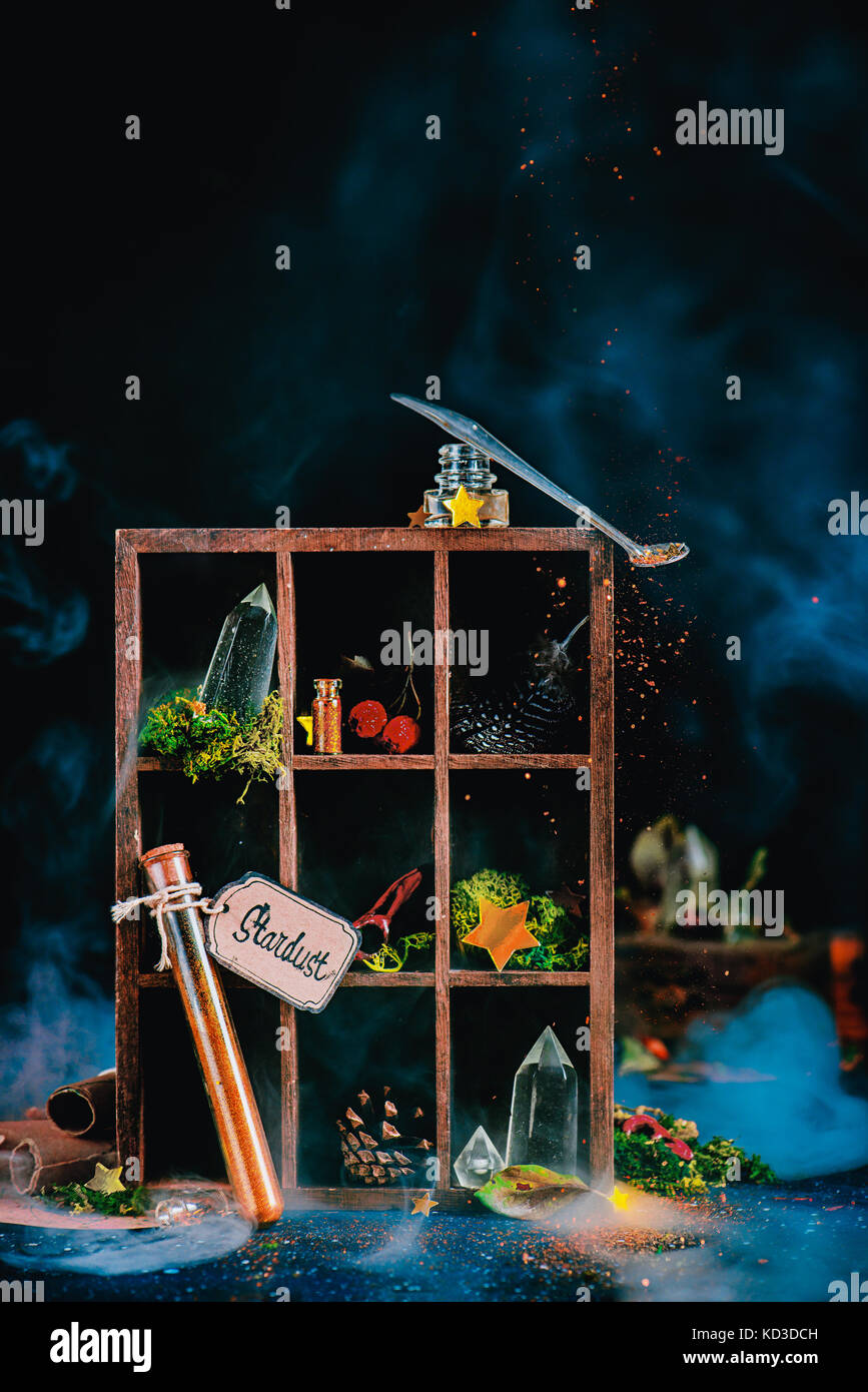mystic still life with a wooden case with magical items and potion