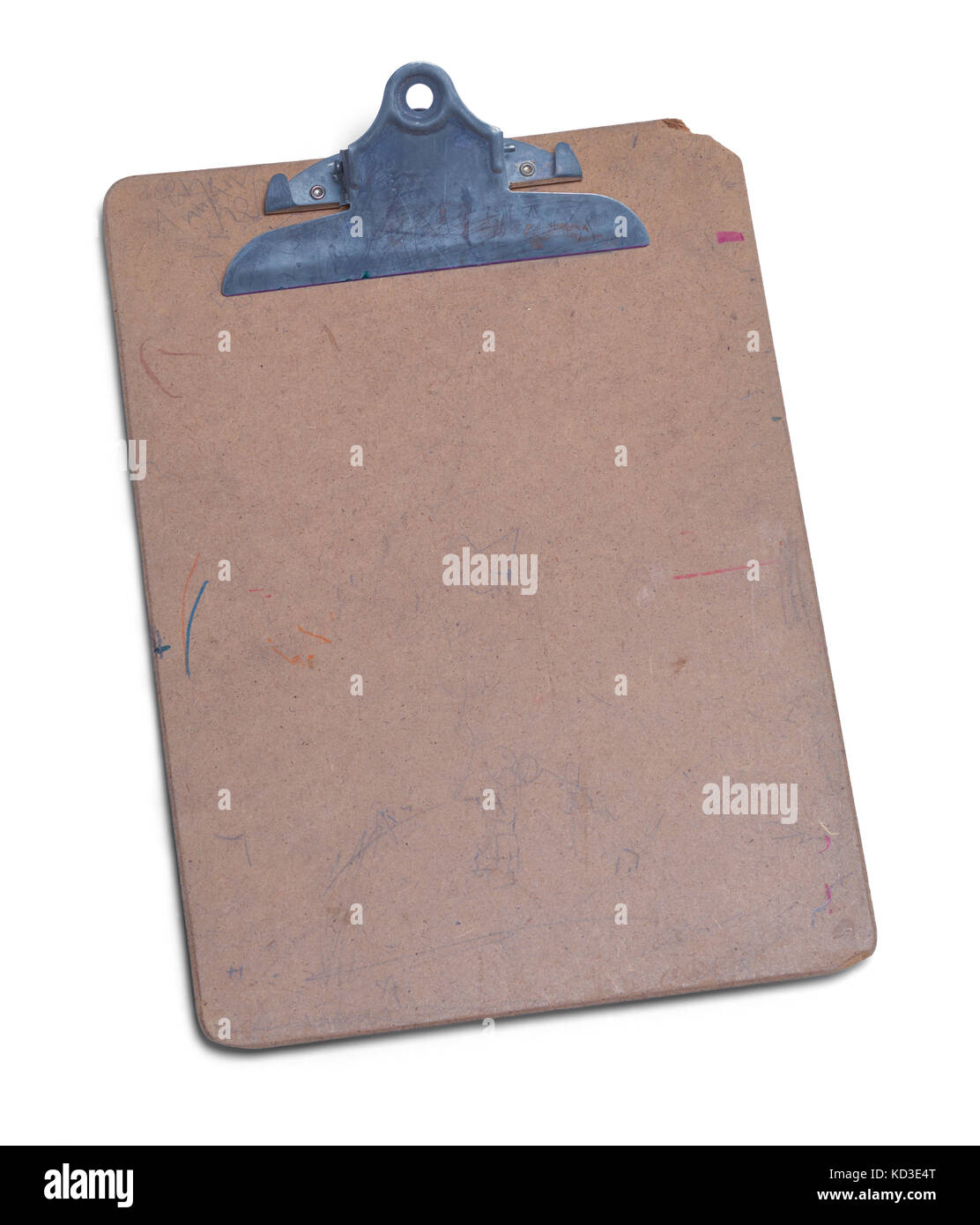 old wooden clipboard isolated on a white background stock photo