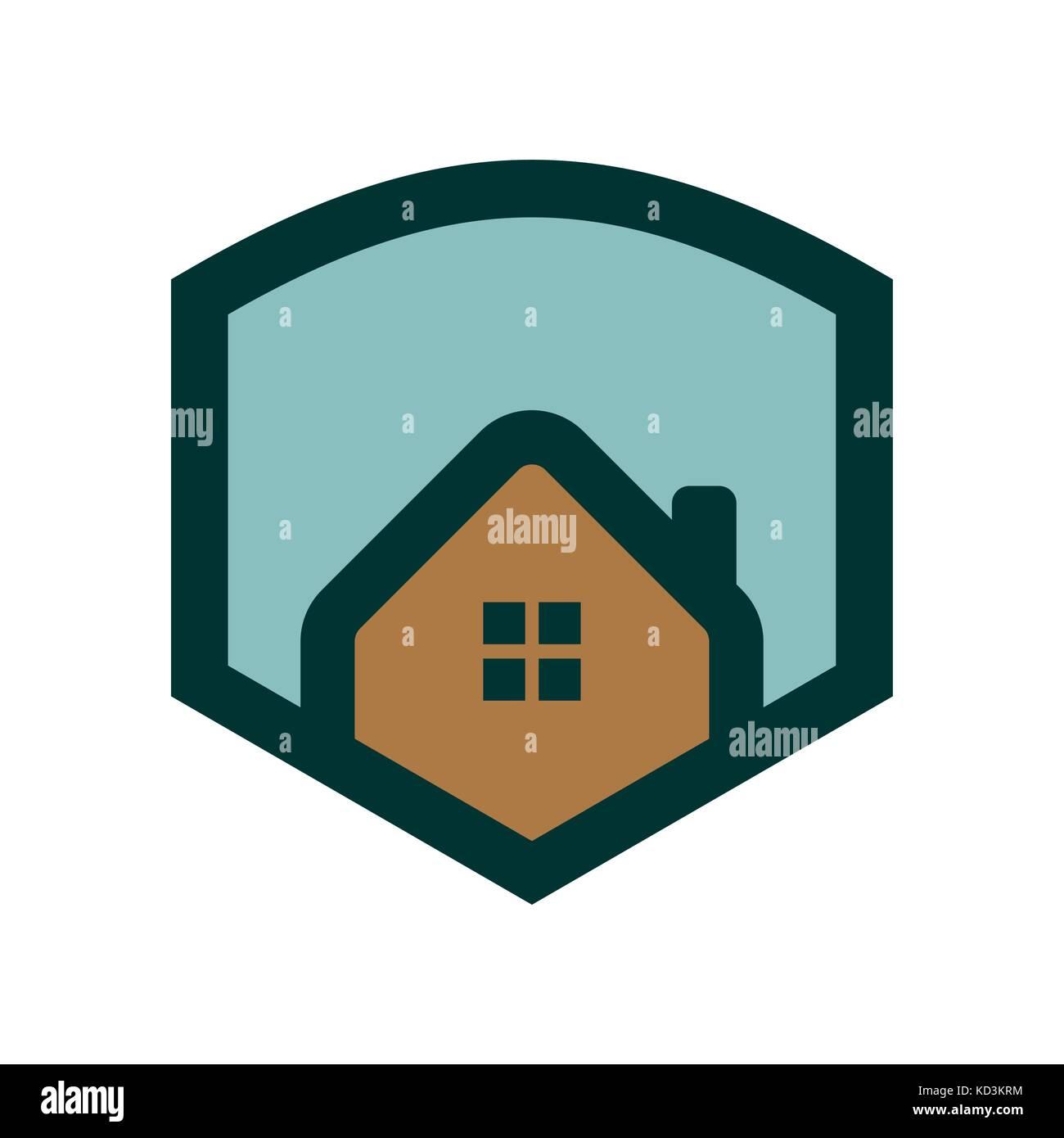 Simple House Logo Shield Badge Stock Vector Art & Illustration ...