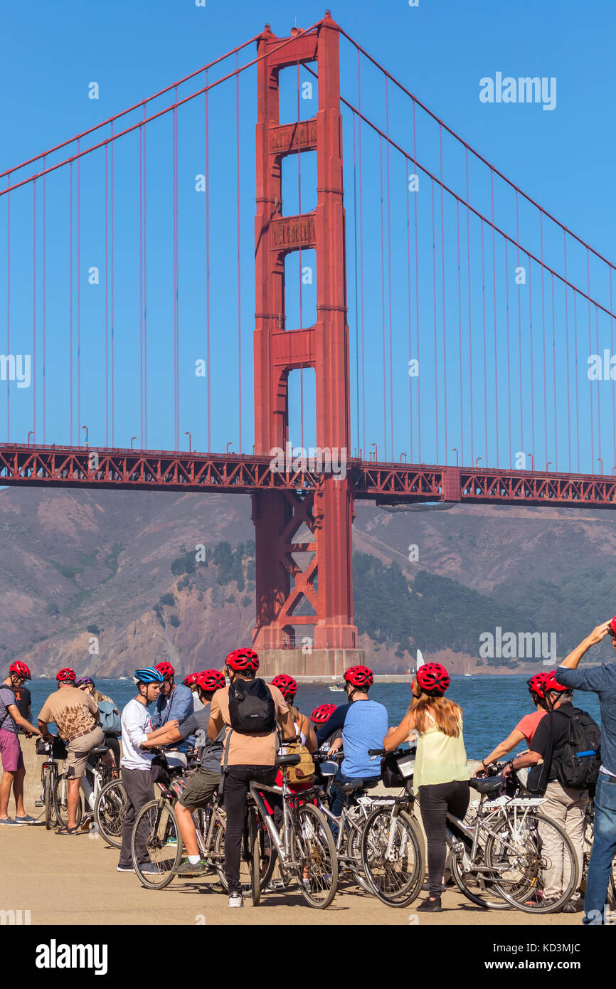 A group of bikers and the iconic Golden Gate Bridge, San Francisco, California. Stock Photo