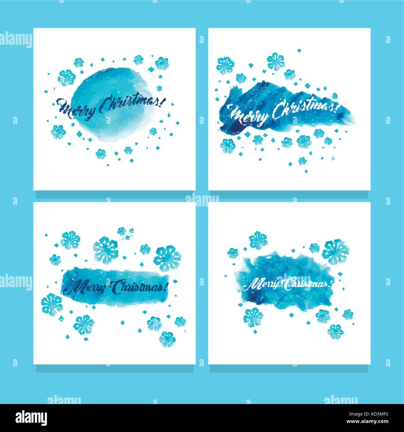 christmas cards set watercolor painting hand lettering blue stock