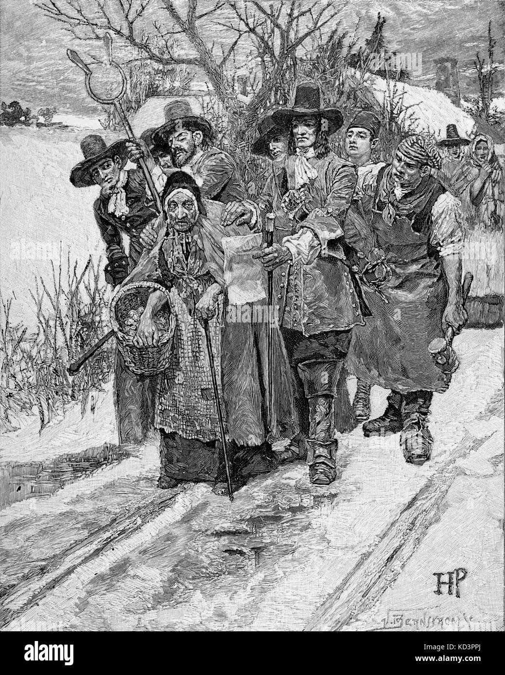 The arrest of a 'witch' in the streets of Salem, Massachusetts, 1692.  Illustration by Howard Pyle (engraving 1883). (The Salem witch trials were  a series of ...