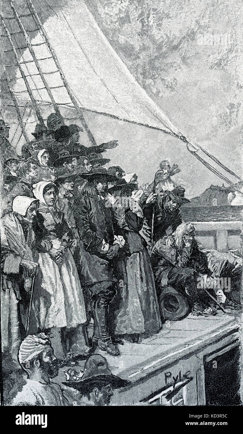 William Penn on his first trip to America, 1682, sailing in the ship  'Welcome'. Founder of Pennsylvania. Illustration by Howard Pyle, 1883