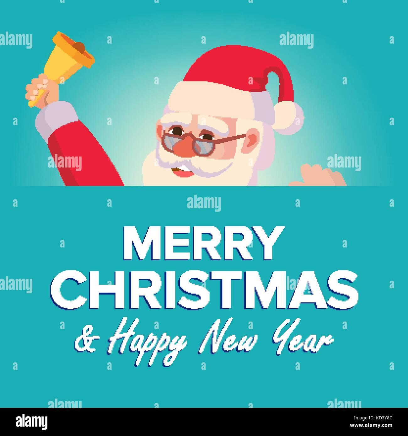 Merry Christmas Santa Claus Greeting Card Vector Poster Banner