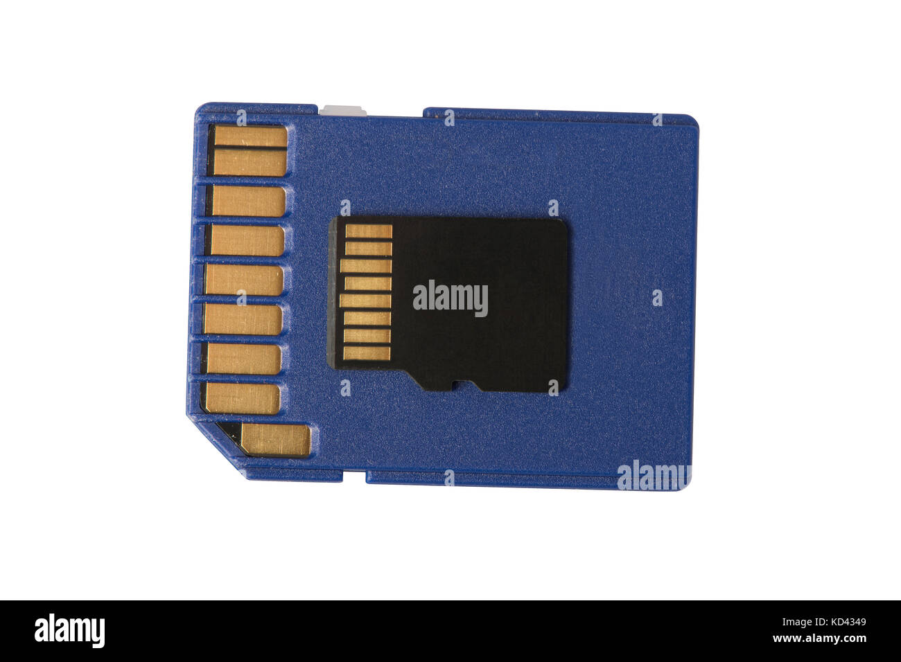 a micro sd card sitting on a regular size sd card isolated on white