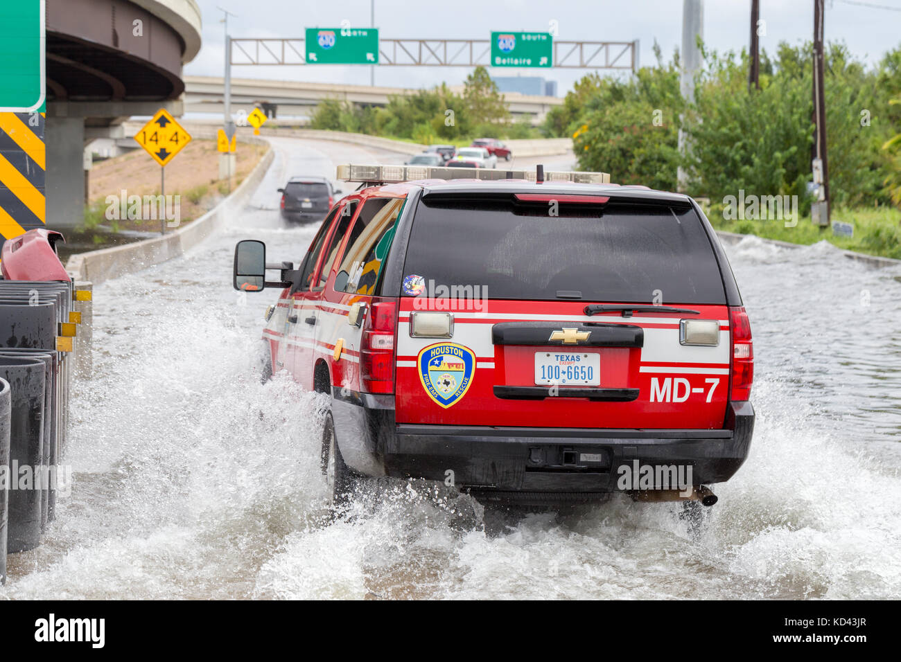 A City Of Houston Emergency Vehicle Pushes Through Floodwaters From  Hurricane Harvey. Heavy Rains Caused