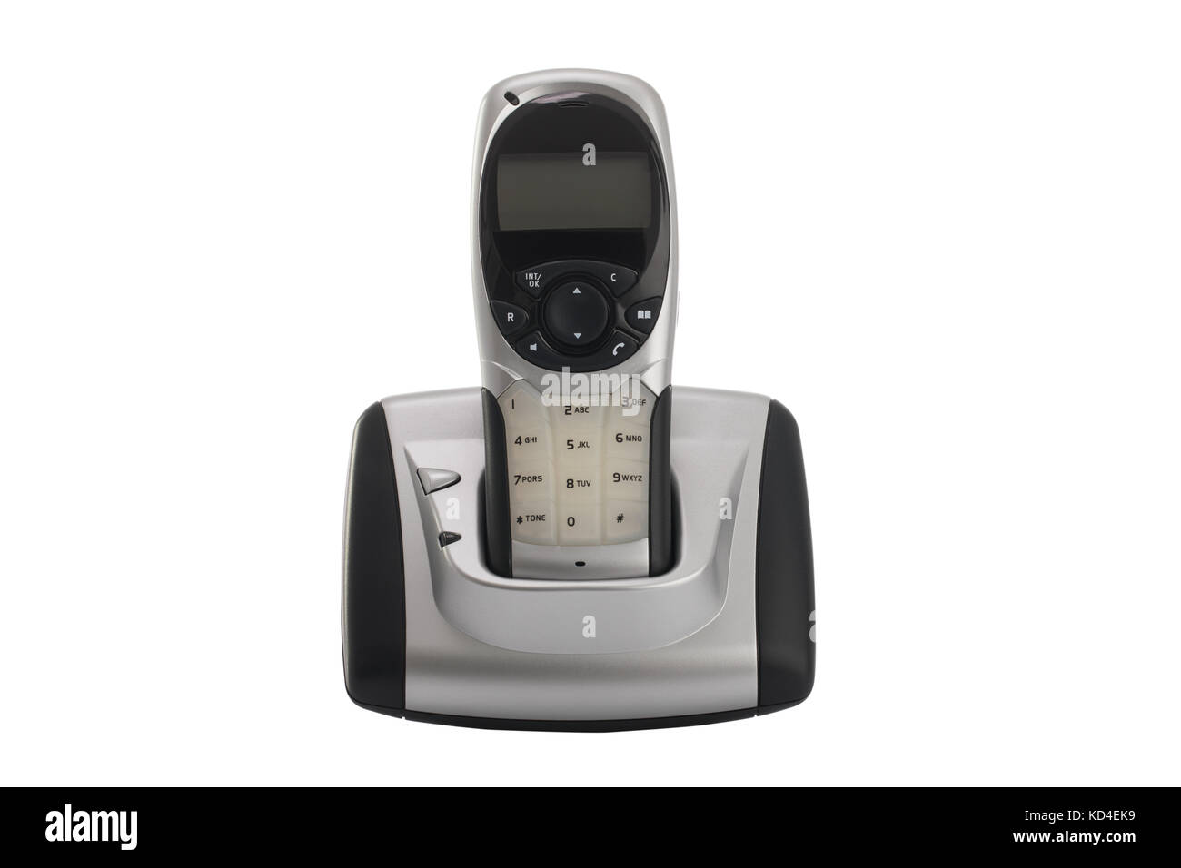 Modern Cordless Home Phone Isolated On A White Background Stock