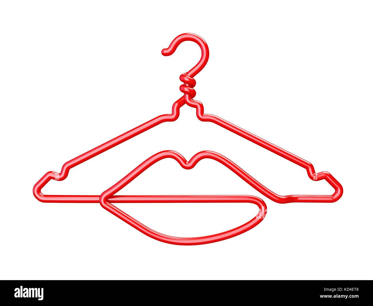 Red wire clothes hangers lips shaped 3d render illustration red wire clothes hangers lips shaped 3d render illustration isolated on white background biocorpaavc