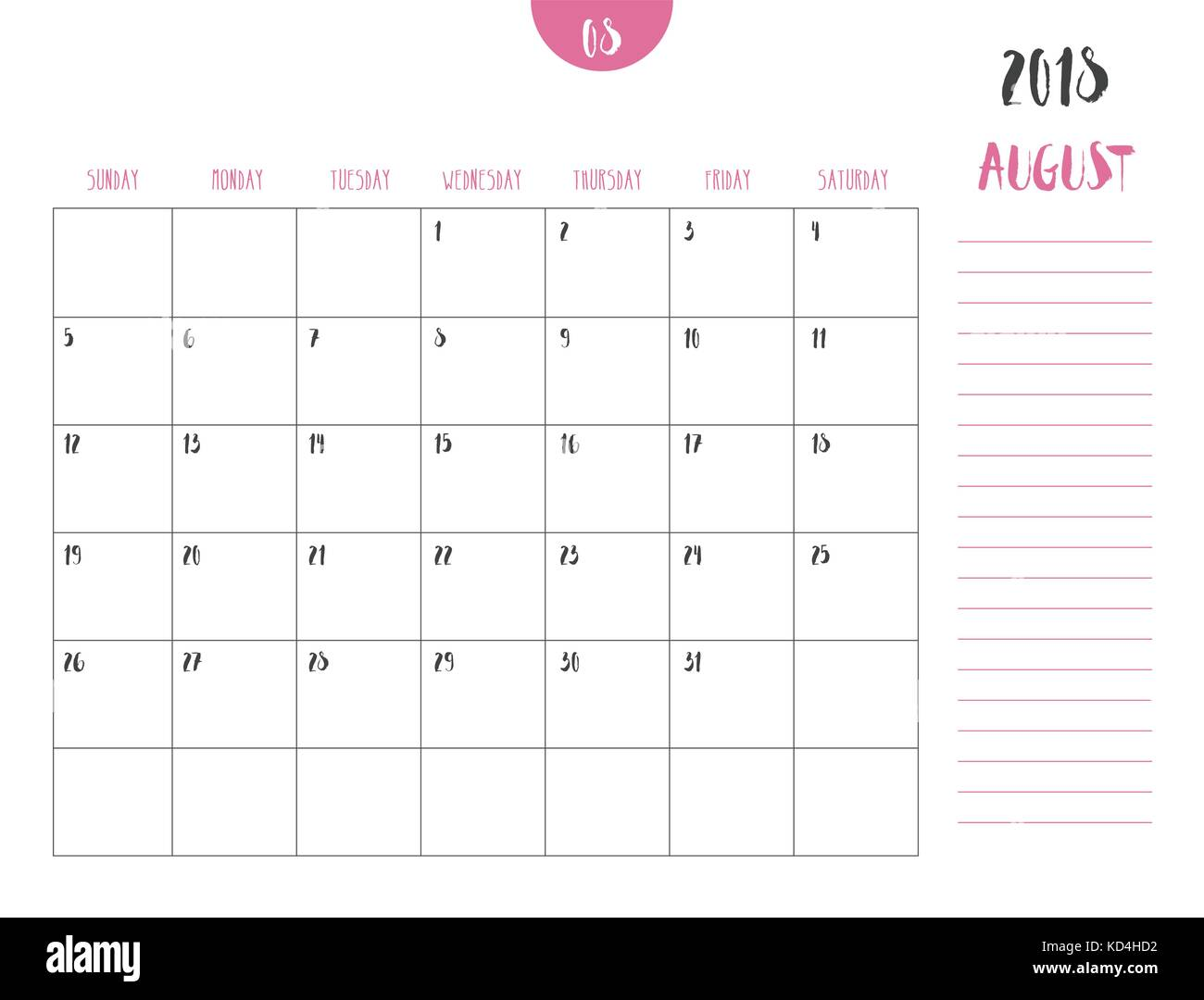 vector of calendar 2018 august in simple clean table style with note line in earth tone color themefull size 21 x 16 cmweek start on sunday